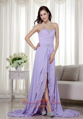 Layered Chiffon High Low Brush Prom Dress Lilac