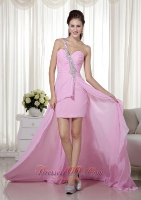 One Shoulder Beading Pink High-low Prom Dress