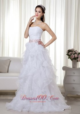 Ruffled Brush Beading White Prom Dress Organza
