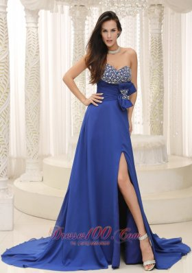 High Slit Peacock Blue Beaded Prom Evening Dress Bowknot