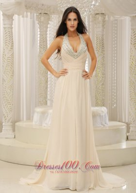 Beaded Prom Dress Evening Halter Champagne Prom Dress
