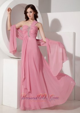 Pink One Shoulder Prom Dress with Beadings