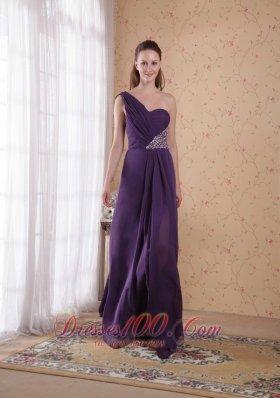 One Shoulder Purple Chiffon Prom Dress Beading