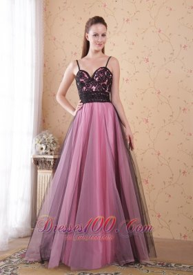 Spaghetti Straps Tulle Rose Pink Lace Prom Dress