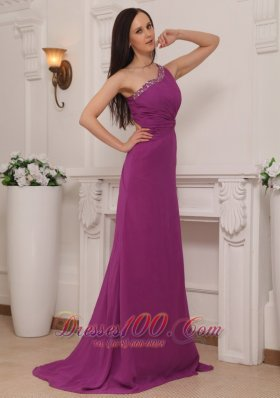 Asymmetrical Fuchsia Brush Train Pageant Dress