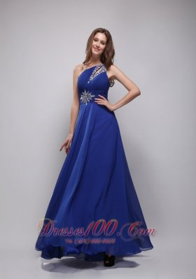 Beading One Shoulder Blue Prom Dress Chiffon