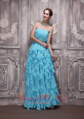 Ruffles Aqua Blue Prom Holiday Gown Beading Empire