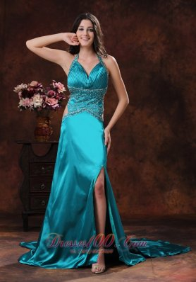 Side Cut High Slit Halter Turquoise Prom Dress