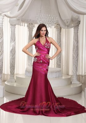 Burgundy Chapel Train Train Prom Celebrity Dress Embroidery