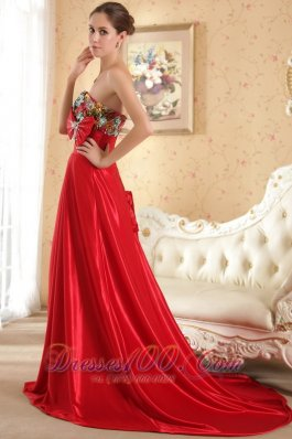 Bow Red Court Train Evening Dress Beaded