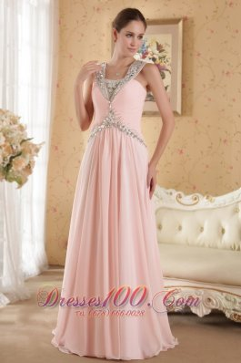 Baby Pink Straps Ruch Evening Dress Court Beads