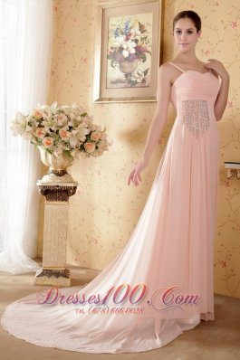 Straps Graduation Dress Court Train Baby Pink