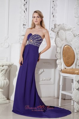 Beading Purple Sweetheart Prom Dress Court Train