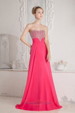 Chiffon Coral Red Beading Prom Dress Sweetheart