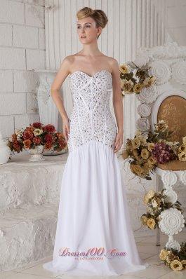Mermaid Chiffon White Brush Prom Dress Beaded