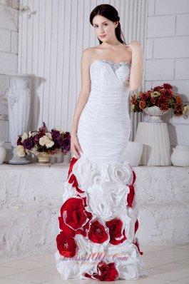 Hand Made Flowers Mermaid White Evening Dress