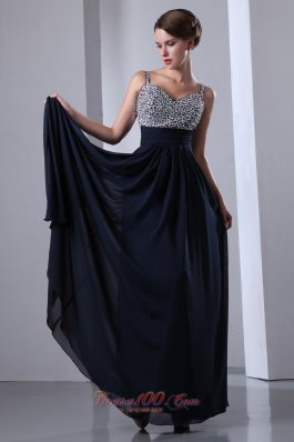 Navy Blue Beads Prom Dress with Straps