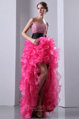 Hot Pink High-low Beads Organza Prom Dress Ruffled