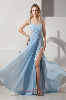 Beading Light Blue One Shoulder Prom Dress with Slit