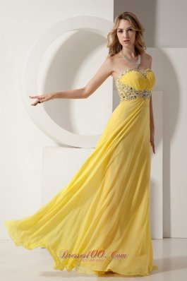 Beading Yellow Prom Dress Sweetheart Chiffon