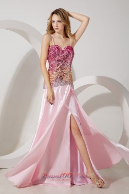 Baby Pink Sequined Straps Evening Dress with Split