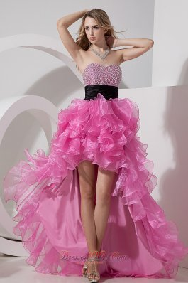 Hi-lo Beaded Layers Rose Pink Prom Dress Sashed