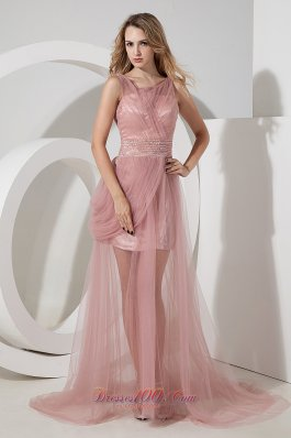 Light Pink Straps Tulle Celebrity Dress Beading