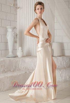 Halter Open Back High Slit Champagne Prom Dress