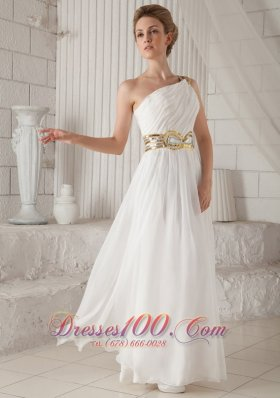 One Shoulder White Chiffon Prom Dress with Sequins