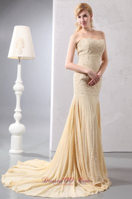 Court Train Beading Mermaid Gold Prom Celebrity Dress Sequined