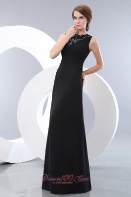 Bateau Beading Black Prom Evening Dress Taffeta