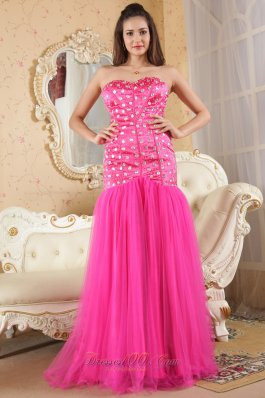 Mermaid Brush Beads Hot Pink Prom Dress Organza