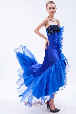Fish Like High-low Mermaid Royal Blue Prom Dress