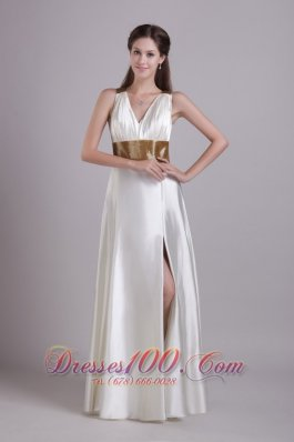 Front Slit V-neck White Evening Dress Sashed