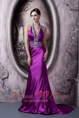 Affordable Eggplant Purple Evening Dress Column Halter