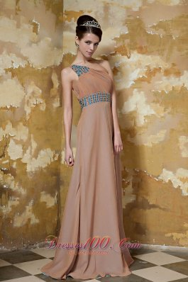 One Shoulder Brown Chiffon Beading Prom Dress