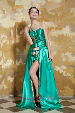 Green Empire Front Split Beading Pageant Evening Dress