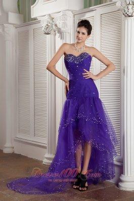 High-low Purple Mermaid Layered Prom Dress Beading
