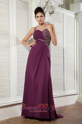 Dark Purple Evening Dress One Shoulder Chiffon Beading