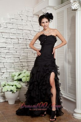 Black Side Split Prom Dress Organza Beading Ruffles