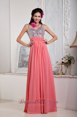 Watermelon Spaghetti Straps Chiffon Sequined Prom Dress