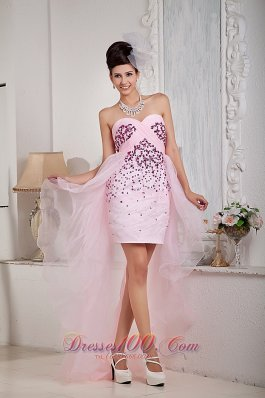 High-low Baby Pink Strapless Beading seventeen Prom Dress