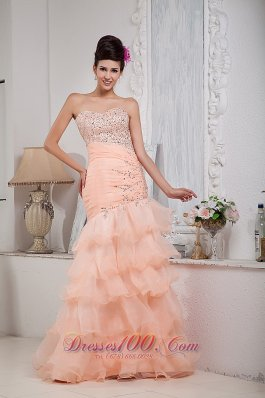 Asymmetrical Mermaid Prom Dress Organza Beading Floor-length
