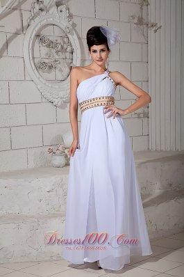 White One Shoulder teenager Prom Holiday Dress Beading Chiffon