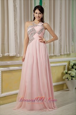 Pink Beading 17 Prom Dress Chiffon Floor-length