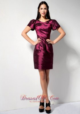 Burgundy V-neck Short Sleeves Bridesmaid Dress Mini
