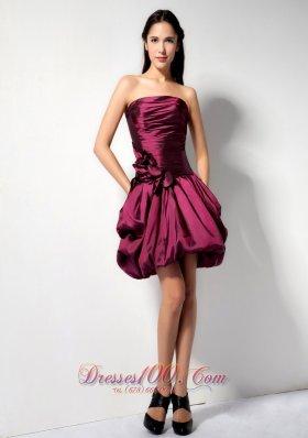 Floral Trimmed A-line Mini Bridesmaid Dress