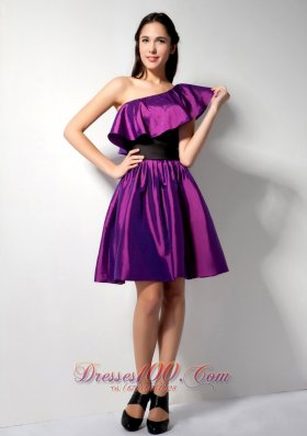 Flounced Hemline Asym One shoulder Bridesmaid Dress