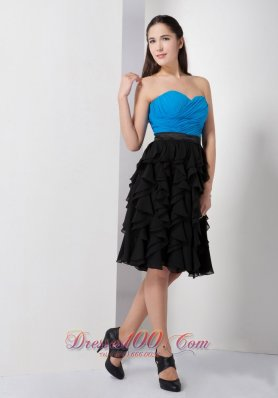 Sky Blue and Black Prom Cocktail Dress Pieces Ruffles