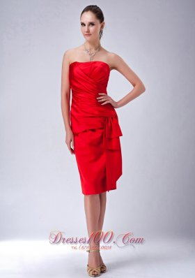 Red Sheath Bridesmaid Dress Ruch Knee-length